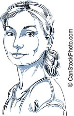 Vector portrait of attractive dreamy woman, illustration of...
