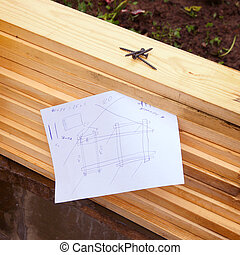 hand craft and paper sheet - wooden boards and hand drawn...