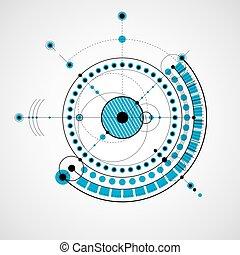 Technical drawing made using dashed lines and geometric circles. Vector blue wallpaper created in communications technology style, engine design.