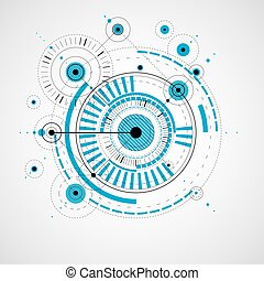 Technical drawing made using dashed lines and geometric circles. Blue vector wallpaper created in communications technology style, engine design.