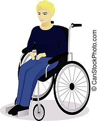boy with disabilities in a wheelchair vector illustration