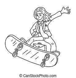 Businessman Line Art cartoon, art vector design