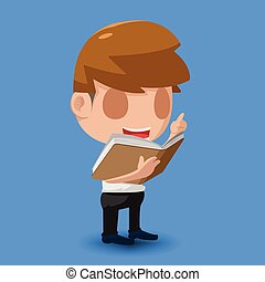 Man Stand Reading Book Character Vector