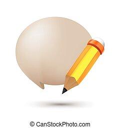 Pencil Bubble Balloon Text Symbol Vector