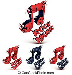Set of red and black 3d vector musical notes created from...