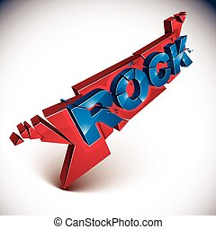 3d rock word broken into pieces, demolished vector design element. Shattered art stylish inscription.