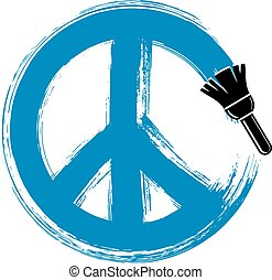 Hand-drawn vector peace sign, antiwar symbol from 60s made...