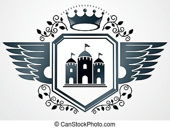 Vintage vector emblem made in heraldic design and decorated...