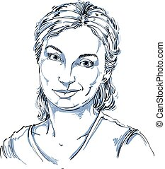 Hand-drawn vector illustration of beautiful skeptic woman, I...