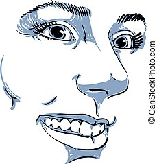 Hand-drawn vector illustration of beautiful smiling woman....