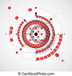 Technical drawing made using dashed lines and geometric circles. Vector wallpaper created in communications technology style, engine design.
