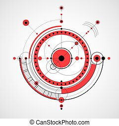 Geometric technology vector drawing, red technical wallpaper. Abstract scheme of engine or engineering mechanism.