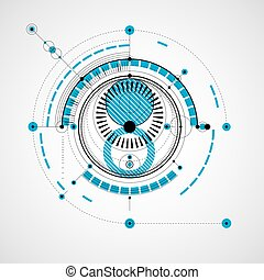 Geometric technology vector drawing, blue technical wallpaper. Abstract scheme of engine or engineering mechanism.
