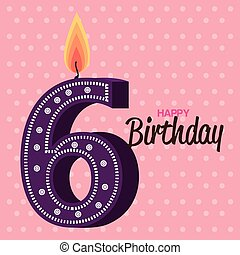 happy birthday candle number character vector illustration...
