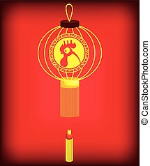 2017 Chinese Year of the Rooster poster Vector illustration