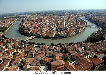 Verona, City of Love, Italy - Aerial view of Verona, city of...