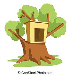 Tree house icon, cartoon style - Tree house icon. Cartoon...