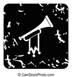 Trumpet with flag icon, grunge style - Trumpet with flag...
