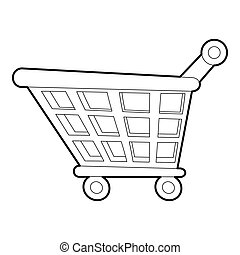 Shopping cart icon, outline style - Shopping cart icon....