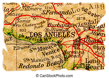 Los Angeles old map - Los Angeles on an old torn map,...