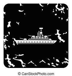 Warship icon, grunge style - Warship icon. Grunge...