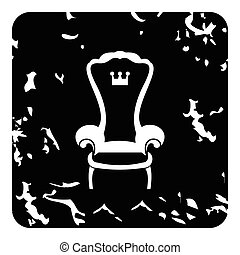 Royal throne icon, grunge style - Royal throne icon. Grunge...