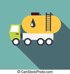 Truck carries petrol icon, flat style - Truck carries petrol...
