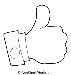 Thumbs up icon, outline style - Thumbs up icon. Outline...
