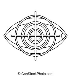 Human eye and target icon, outline style