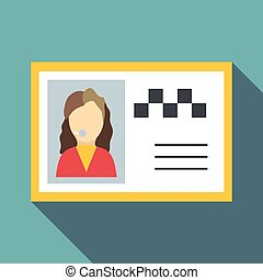 Document taxi driver icon, flat style - Document taxi driver...