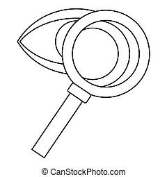 Magnifying glass and eye icon, outline style