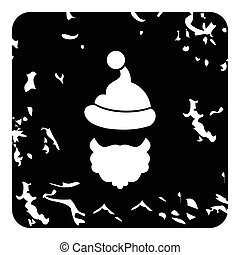 Christmas hat pompom and beard of Santa Claus icon. Grunge...