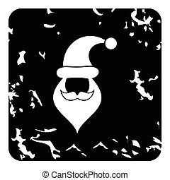 Hat and beard with mustache of Santa Claus icon. Grunge...