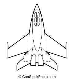 Military jet icon, outline style