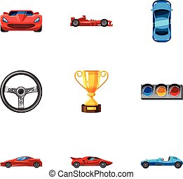 Racing accessories icons set, cartoon style
