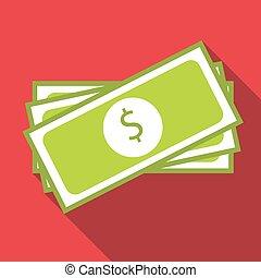 Bundle of money icon, flat style - Bundle of money icon....