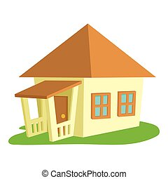 Bungalow icon, cartoon style - Bungalow icon. Cartoon...