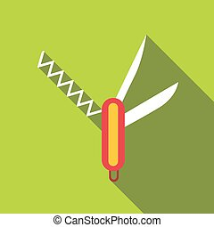 Folding knife icon, flat style - Folding knife icon. Flat...