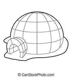 Igloo icon, outline style - Igloo icon. Outline illustration...