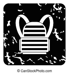 Backpack icon, grunge style - Backpack icon. Grunge...
