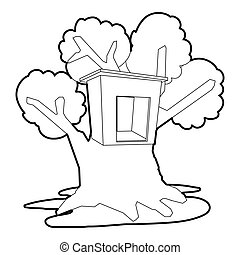 Tree house icon, outline style - Tree house con. Outline...