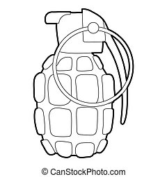 Hand grenade icon, outline style - Hand grenade icon....