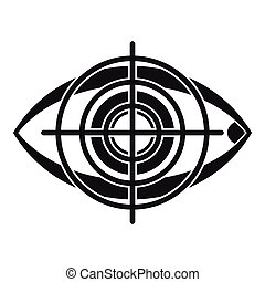Eye and target icon, simple style