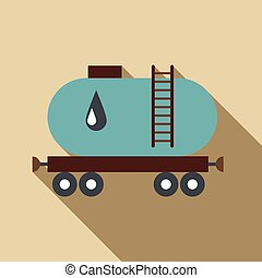 Waggon for gasoline icon, flat style - Waggon for gasoline...