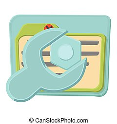 Wrench icon, cartoon style - Wrench icon. Cartoon...