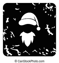 Hat with pompom and beard of Santa Claus icon. Grunge...