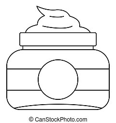 Cosmetic face cream container icon, outline style - Cosmetic...