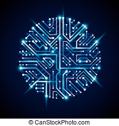 Vector abstract computer glare circuit board, blue round...