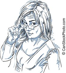 Vector art drawing, portrait of gorgeous girl with...