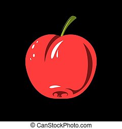 Harvesting symbol, single vector red fruit isolated. Ripe organic whole sweet apple, healthy food idea design icon.